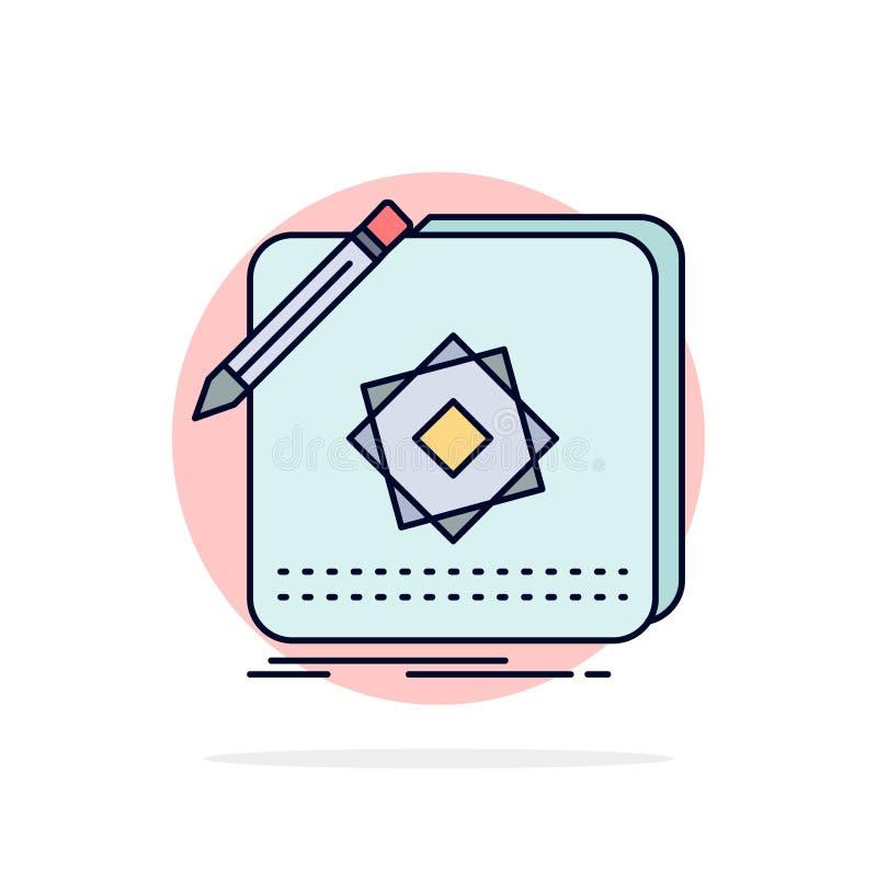 Het ontwerp, App, Embleem, Toepassing, ontwerpt de Vlakke Vector van het Kleurenpictogram stock illustratie