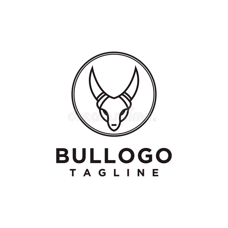 Het ontwerp eenvoudige minimalistische stijl van het stierenembleem voor zaken of bedrijfmerk stock illustratie