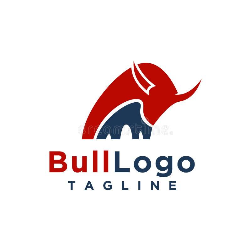 Het ontwerp eenvoudige minimalistische stijl van het stierenembleem voor zaken of bedrijfmerk royalty-vrije illustratie