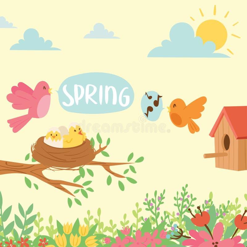 Het ontwerp en de aard van de de taklente van het grasseizoen de lente de natuurlijke bloemen van de achtergrondbloesemschoonheid vector illustratie