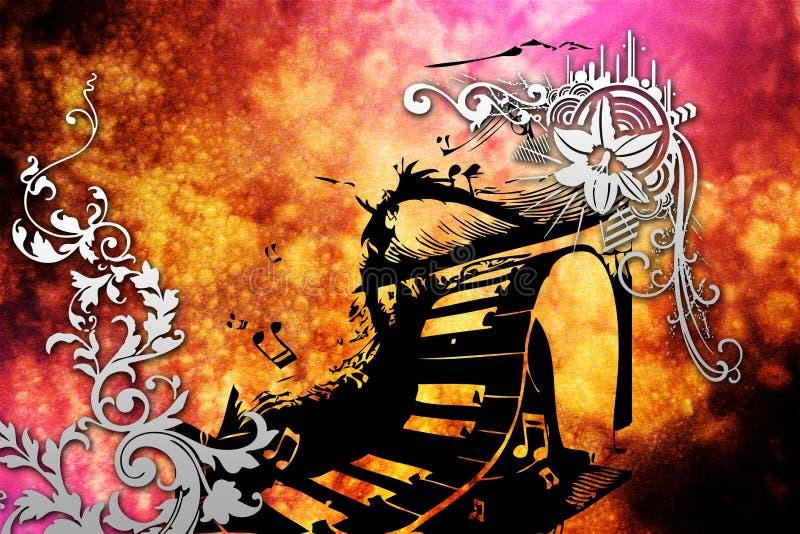 Het ontwerp grappig beeld van de muziek abstract kleur vector illustratie