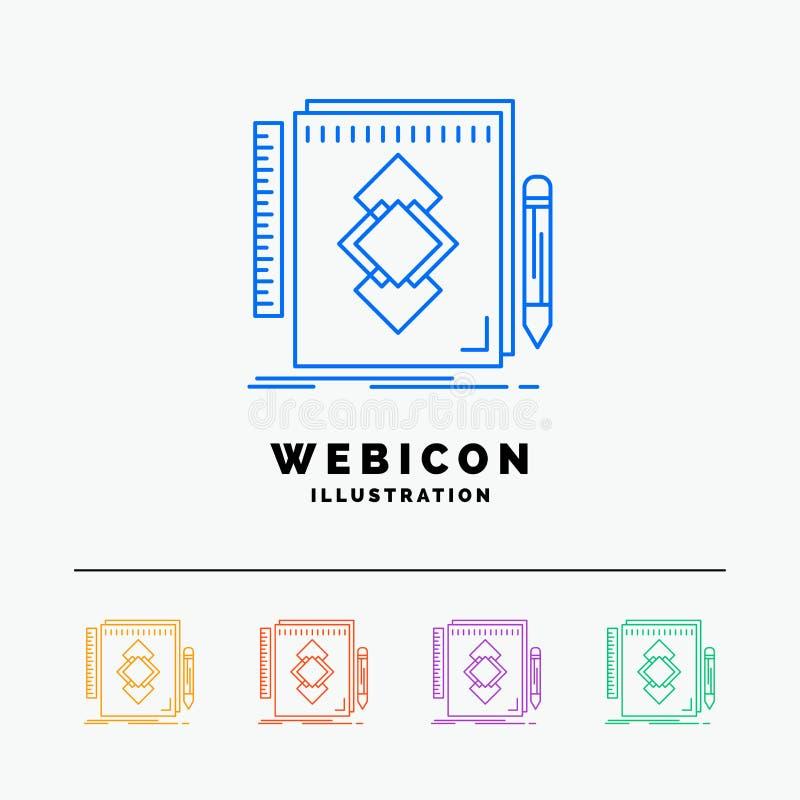 het ontwerp, Hulpmiddel, identiteit, trekt, ontwikkeling 5 geïsoleerd het Pictogrammalplaatje van het Rassenbarrièreweb op wit Ve vector illustratie