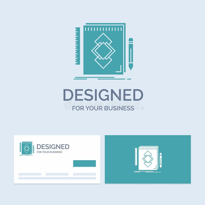 het ontwerp, Hulpmiddel, identiteit, trekt, ontwikkelingszaken Logo Glyph Icon Symbol voor uw zaken Turkooise Visitekaartjes met  royalty-vrije illustratie