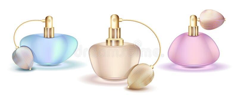 Het ontwerp kleurrijke vector van de parfumfles royalty-vrije illustratie