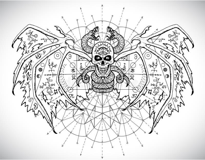 Het ontwerp plaatste met enge gotische en mysticussymbolen - schedel, dolfijn, kat, snakeDemon met symbolen van de mysticus de he royalty-vrije illustratie