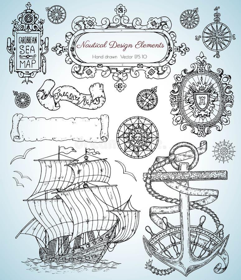 Het ontwerp plaatste met oude zeevaartelementen, varend schip, anker, kaders en grenzen royalty-vrije illustratie