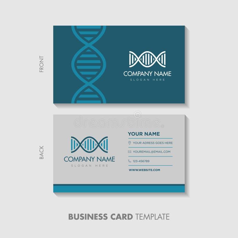 Het ontwerp van het adreskaartjemalplaatje Het vectorpictogram van DNA in een cirkel met geneticatekst en het medische themablauw stock fotografie