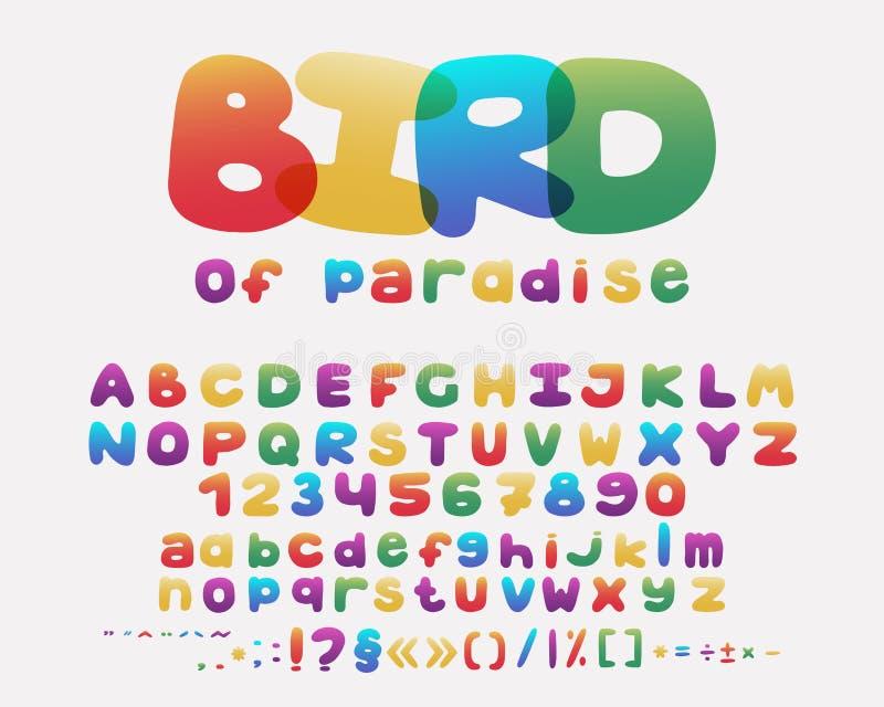 Het ontwerp van het alfabetbeeldverhaal regenboogstijl In hoofdletters en kleine letters, aantallen en leestekens Doopvontvector stock illustratie