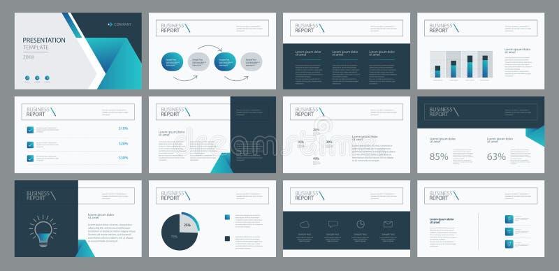 Het ontwerp van het bedrijfspresentatiemalplaatje en het ontwerp van de paginalay-out voor brochure, jaarverslag en bedrijfprofie royalty-vrije illustratie