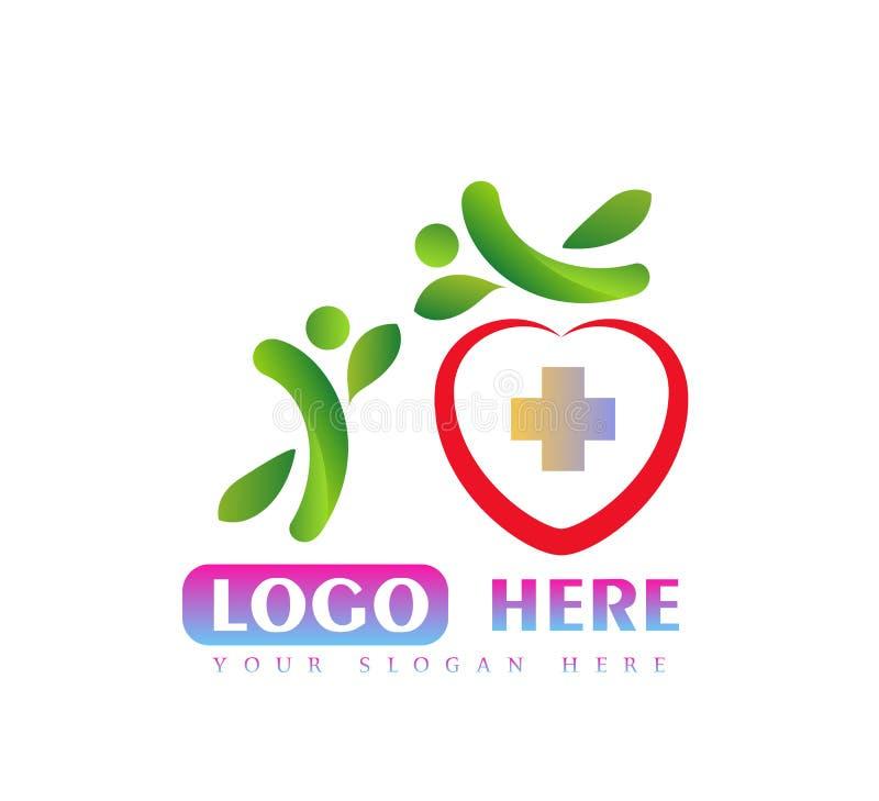 Het ontwerp van het het bladembleem van gezondheidsmensen Hoor vorm, medisch teken, Atletische Zorg, saldo, actief mensenembleem royalty-vrije illustratie