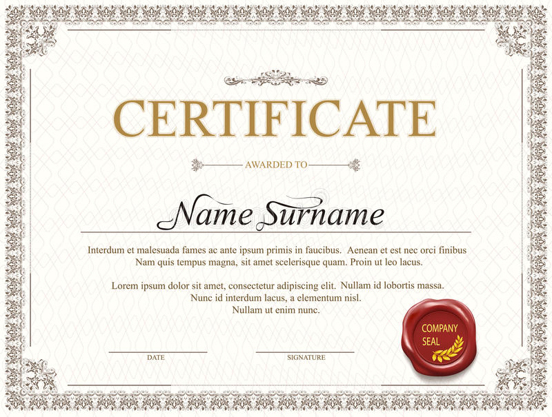 Het ontwerp van het certificaatmalplaatje royalty-vrije illustratie