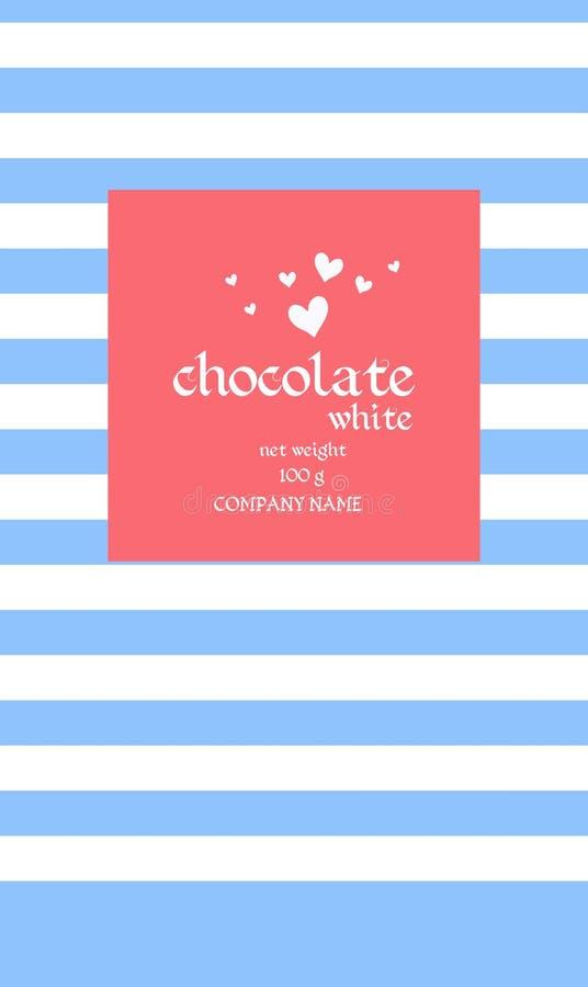 Het Ontwerp van het chocoladereeppakket met abstact mariene gestreepte achtergrond en witte harten op rood vierkant royalty-vrije illustratie
