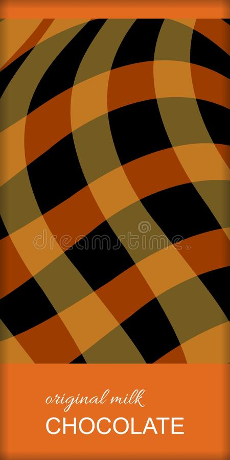 Het ontwerp van het chocoladereeppakket met abstract geruit patroon Gemakkelijk editable verpakkend malplaatje stock illustratie