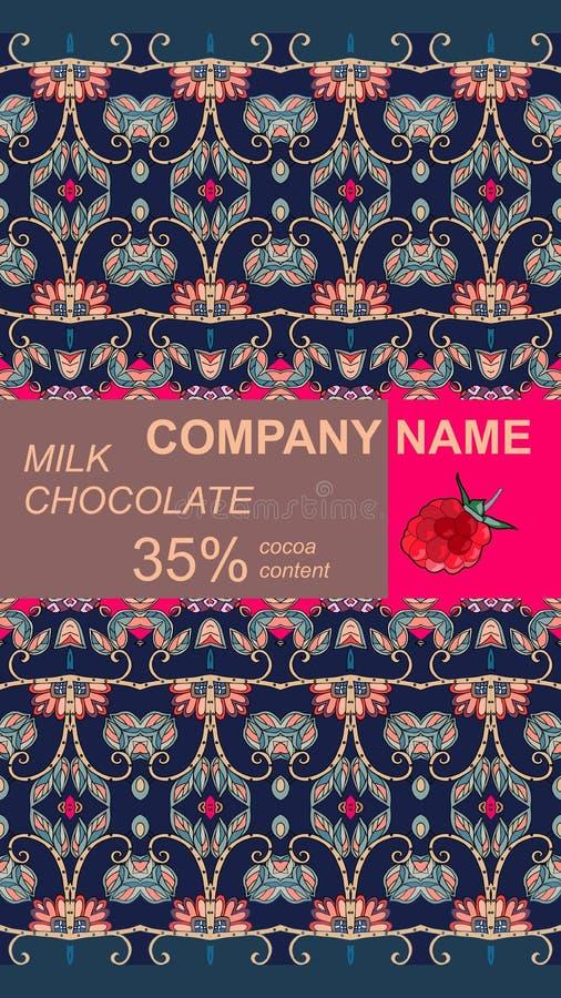 Het ontwerp van het chocoladereeppakket met abstract natuurlijk ornament Gemakkelijk editable verpakkend malplaatje stock illustratie