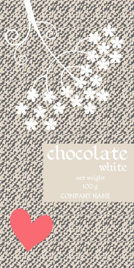 Het Ontwerp van het chocoladereeppakket met abstracte paraplubloemen op gestileerde denimachtergrond Gemakkelijk editable verpakk vector illustratie