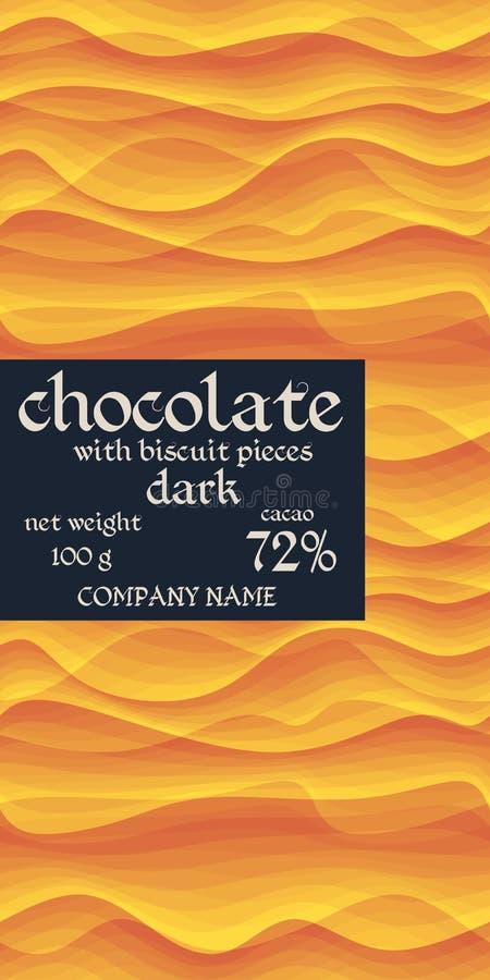 Het ontwerp van het chocoladereeppakket met eenvoudige gegolfte achtergrond in gele en oranje kleuren stock illustratie