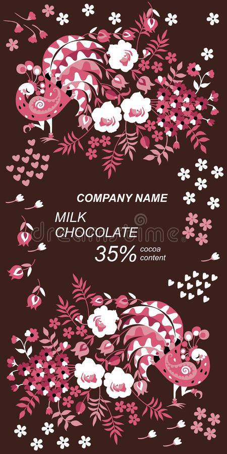 Het ontwerp van het chocoladereeppakket met feepauwen, mooie bloemen en bladeren op donkere bruine achtergrond Etnische motieven stock illustratie