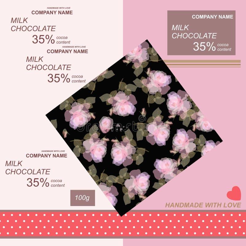 Het ontwerp van het chocoladereeppakket met lichtrose rozen op zwarte achtergrond en weinig rood hart op roze achtergrond stock illustratie