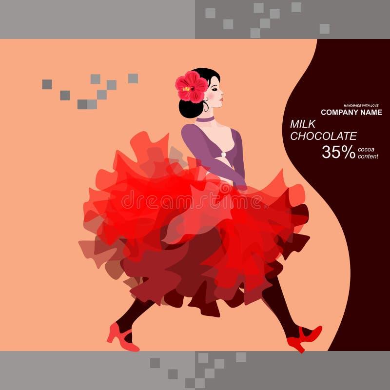 Het ontwerp van het chocoladereeppakket met het meisje van de flamencodanser en silhouet van gitaar Gemakkelijk editable verpakke stock illustratie