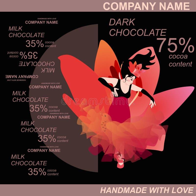 Het ontwerp van het chocoladereeppakket met mooi Spaans meisje het dansen flamenco Gemakkelijk editable verpakkend malplaatje stock illustratie