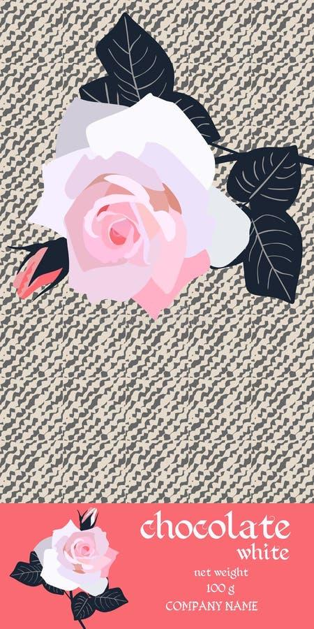 Het Ontwerp van het chocoladereeppakket met tak van roze nam op gestileerde lichte denimachtergrond toe Gemakkelijk editable verp royalty-vrije illustratie