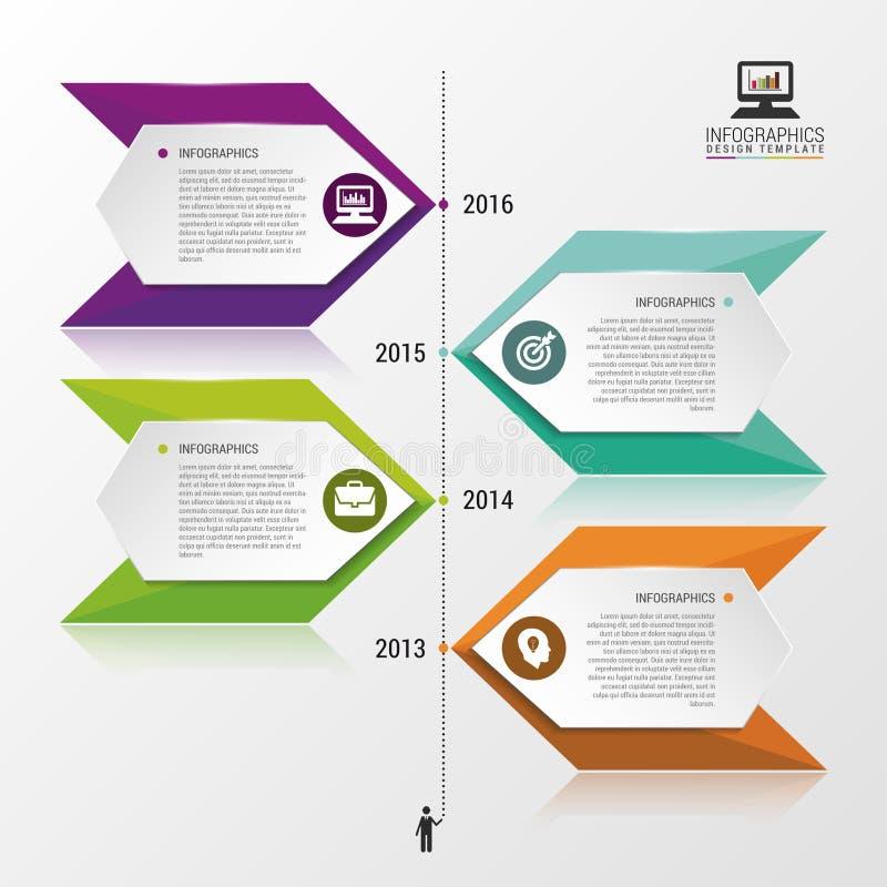 Het ontwerp van chronologieinfographics Kan voor werkschemalay-out, diagram, Webontwerp worden gebruikt Vector illustratie stock illustratie