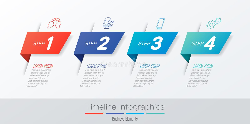Het ontwerp van chronologieinfographics vector en marketing pictogrammen, Bedrijfsconcept met 4 opties, stappen of processen vector illustratie