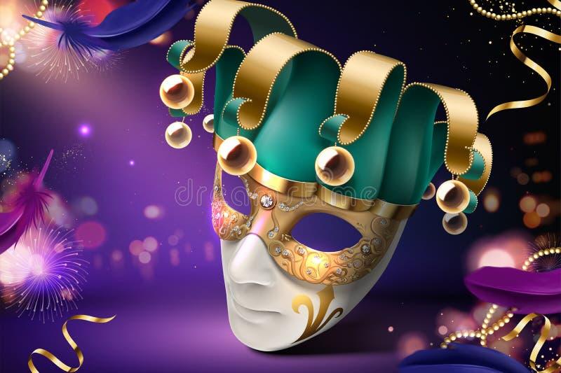 Het ontwerp van het clownmasker royalty-vrije illustratie
