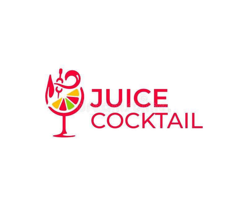Het ontwerp van het cocktailbarembleem Cocktailglas met oranje fruit vectorontwerp stock illustratie