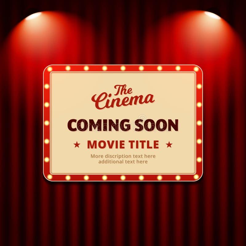 Het ontwerp van de de affichebevordering bioskoop van de film die spoedig komen retro aanplakbordteken met schijnwerpers op van h vector illustratie
