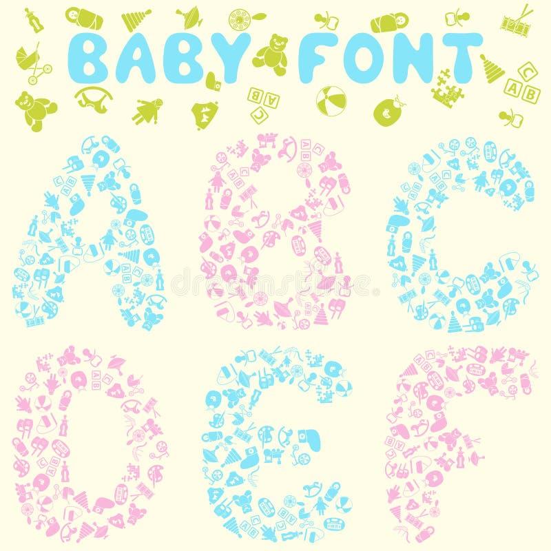 Het ontwerp van de babydoopvont vector illustratie
