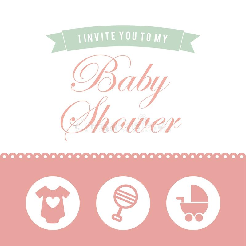 Het ontwerp van de babydouche royalty-vrije illustratie