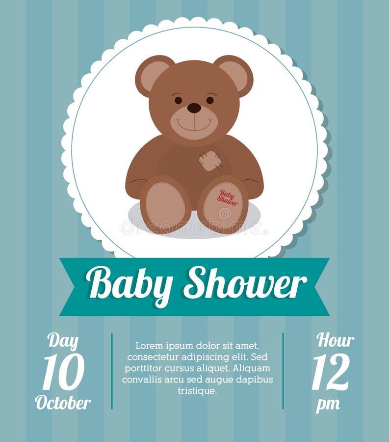 Het ontwerp van de babydouche E Blauwe illustratie, stock illustratie
