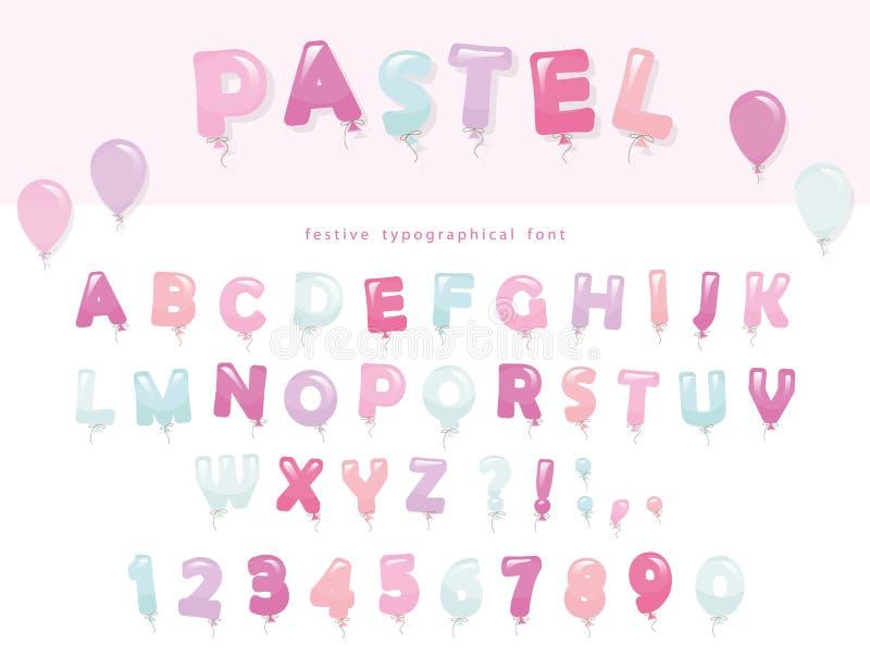 Het ontwerp van de ballondoopvont in pastelkleuren De de leuke letters en getallen van ABC Voor verjaardag, de viering van de bab stock illustratie