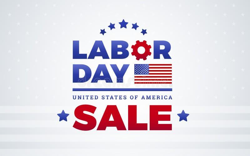 Het ontwerp van het de bannermalplaatje van de Dag van de Arbeidverkoop - Amerikaanse vlag, Dag van de Arbeid royalty-vrije illustratie