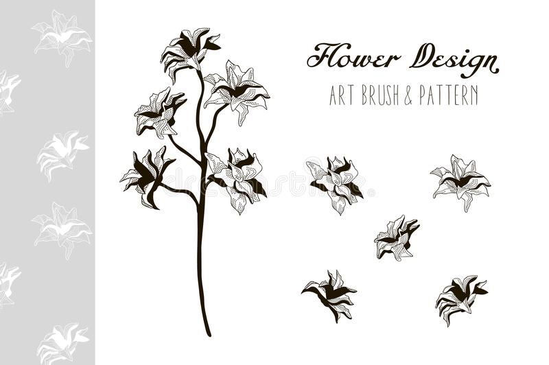 Het ontwerp van de bloem Art Brush en Patroon Vector illustratie stock illustratie