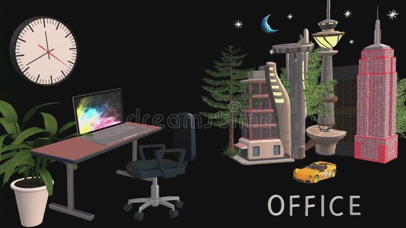Het ontwerp van de bureauruimte en bureaugebouwen in 3D formaat stock illustratie