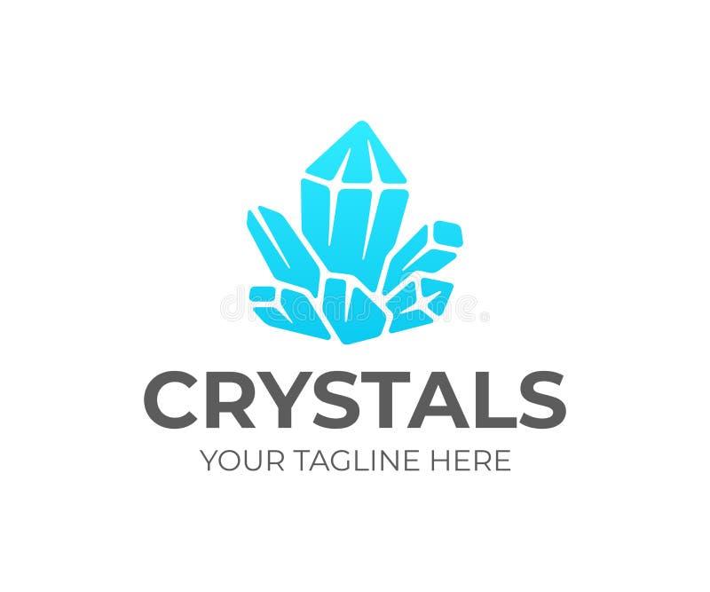 Het ontwerp van het de clusterembleem van het kwartskristal Violetkleurig vectorontwerp