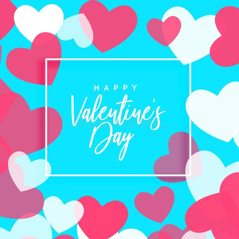 Het ontwerp van de de daggroet van Valentine ` s met hartenkader stock illustratie