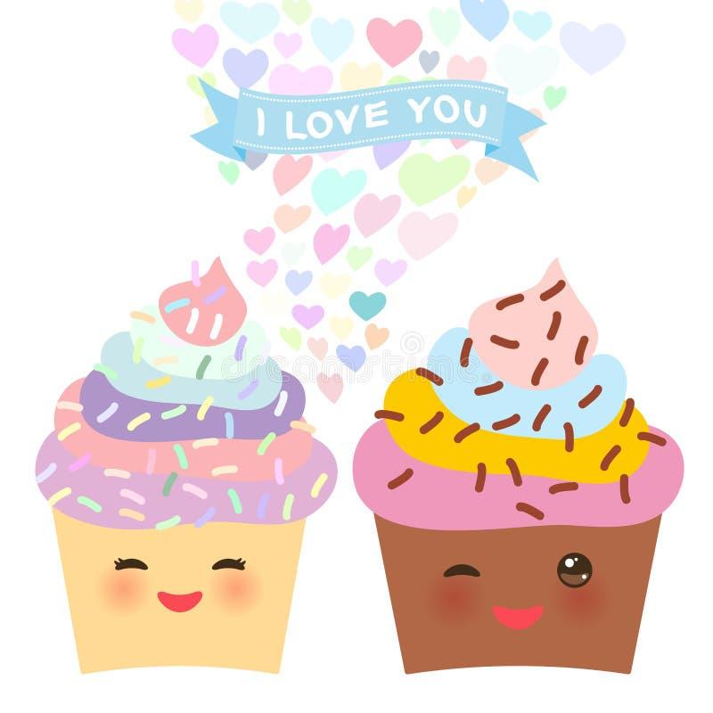 Het ontwerp van de de Dagkaart van Valentine ` s met Kawaii-cake met roze wangen en het knipogen ogen, pastelkleuren op witte ach royalty-vrije illustratie