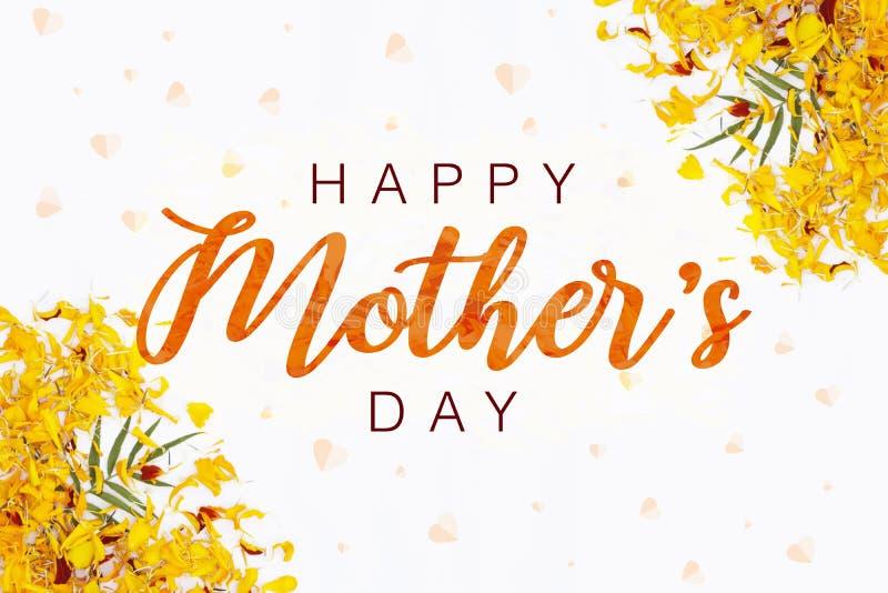 Het ontwerp van de de daglay-out van de gelukkige moeder met de achtergrond van het bloembloemblaadje Beste mamma/mum ooit leuk o stock illustratie