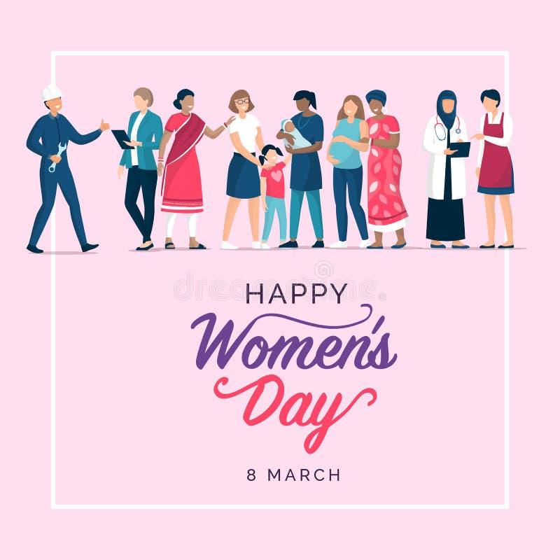 Het ontwerp van de de dagvakantie van gelukkige vrouwen vector illustratie