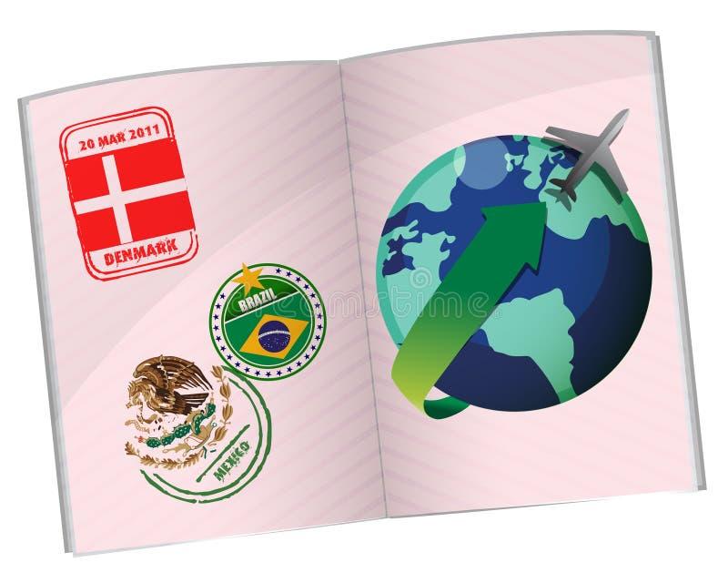 Het ontwerp van de de reisillustratie van het paspoort vector illustratie