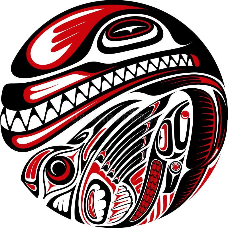Het ontwerp van de de stijltatoegering van Haida stock illustratie