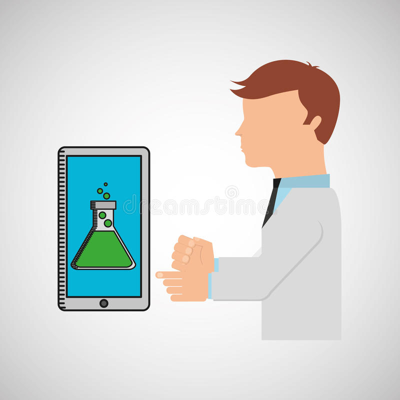 Het ontwerp van de de technologiecontainer van het wetenschapperonderzoek vector illustratie