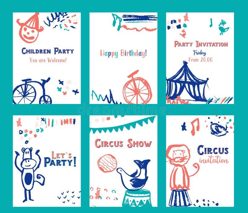 Het ontwerp van de de uitnodigingskaart van de jong geitjeverjaardag met de vectorillustratie die van circuselementen wordt gepla stock illustratie