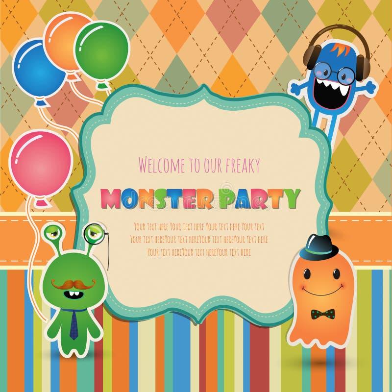 Het ontwerp van de de uitnodigingskaart van de monsterpartij royalty-vrije illustratie