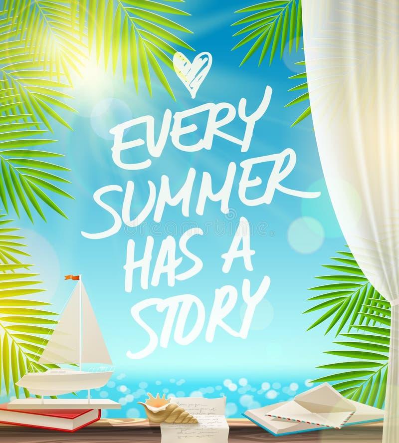 Het ontwerp van de de zomervakantie met hand getrokken citaat