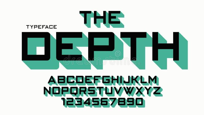 Het ontwerp van de Diepte vector decoratieve doopvont, alfabet, lettersoort, type stock illustratie