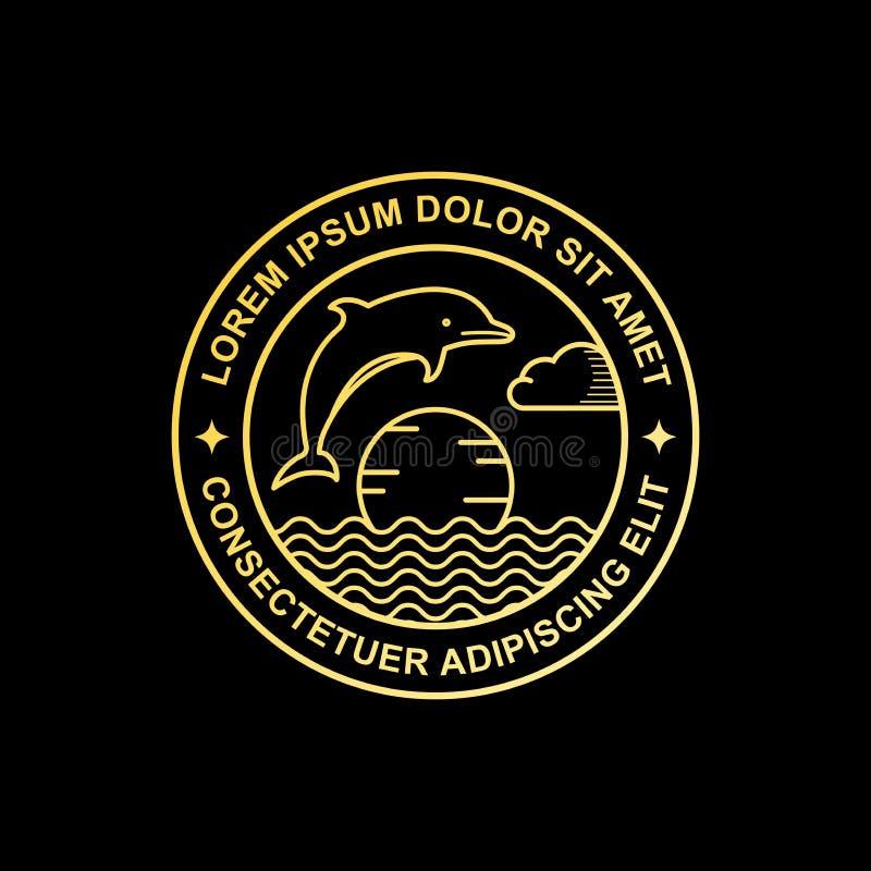 Het ontwerp van het de dolfijnembleem van de lijnkunst stock illustratie
